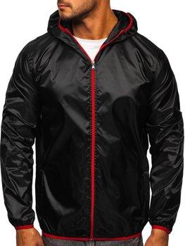 Czarna przejściowa kurtka męska wiatrówka z kapturem BOLF 5060