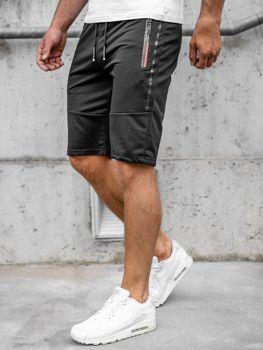 Czarne dresowe krótkie spodenki męskie Denley JX366