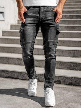 Czarne jeansowe bojówki spodnie męskie slim fit Denley R61033W0