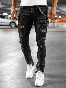 Czarne jeansowe spodnie męskie slim fit Denley 60012WO