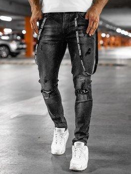 Czarne jeansowe spodnie męskie slim fit Denley 61008S0