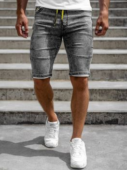 Czarne krótkie spodenki jeansowe męskie Denley HY655