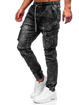 Czarne spodnie jeansowe joggery bojówki męskie Denley TF055