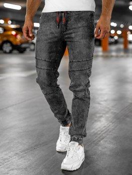 Czarne spodnie jeansowe joggery męskie Denley HY684