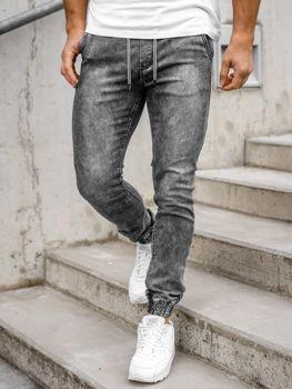 Czarne spodnie jeansowe joggery męskie Denley KA1322-1