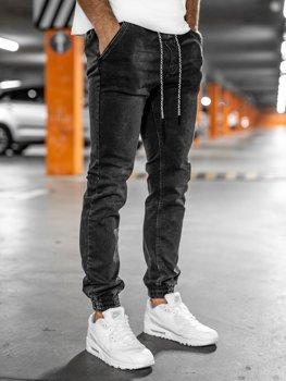 Czarne spodnie jeansowe joggery męskie Denley KA2193