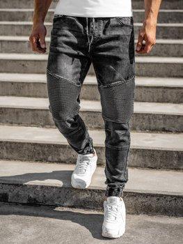 Czarne spodnie jeansowe joggery męskie Denley R31001W0