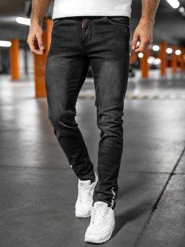 Czarne spodnie jeansowe męskie regular fit Denley K8862