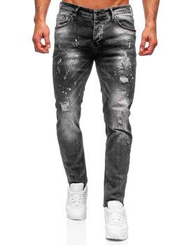 Czarne spodnie jeansowe męskie regular fit Denley R910