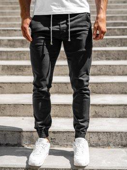Czarne spodnie joggery męskie Denley CT8808