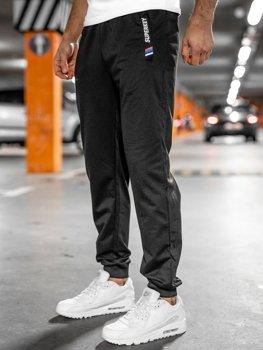 Czarne spodnie męskie dresowe Denley JX1029