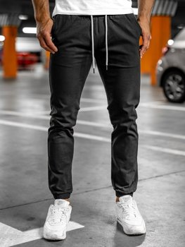 Czarne spodnie męskie joggery Denley 1145