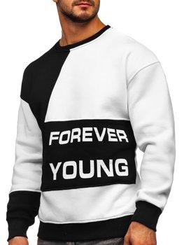 Czarno-biała z nadrukiem Forever Young bluza męska bez kaptura Denley 0002