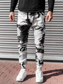 Czarno-białe spodnie joggery męskie Denley 11104