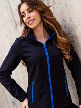 Czarno-niebieska kurtka damska przejściowa softshell Denley HH018