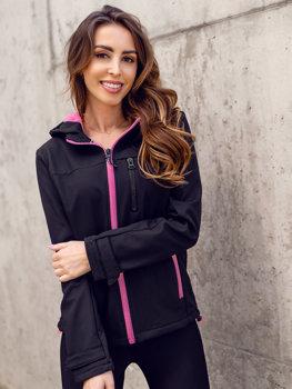Czarno-różowa kurtka damska przejściowa softshell Denley HH018
