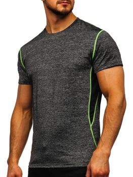 Czarny T-shirt treningowy męski bez nadruku Denley KS2104
