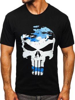 Czarny t-shirt męski z nadrukiem Bolf 2098