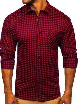 Czerwona koszula męska flanelowa z długim rękawem Denley F8