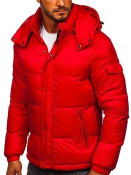 Czerwona pikowana kurtka męska zimowa Denley 1161