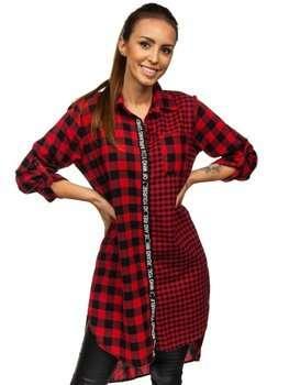 Czerwona w kratę sukienka damska Denley 6614