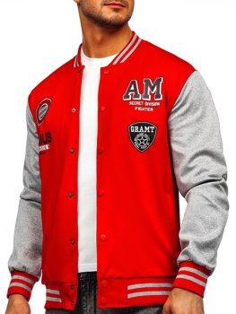 Czerwona z nadrukiem bluza męska kurtka cienka kurtka bejsbolówka Denley B10155