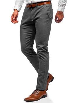 Grafitowe spodnie chinosy męskie Denley 1143