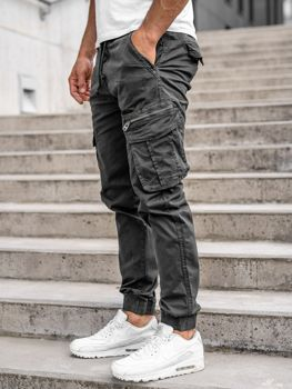 Grafitowe spodnie joggery bojówki męskie Denley CT6701