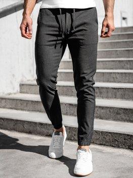 Grafitowe spodnie materiałowe joggery męskie Denley 0011