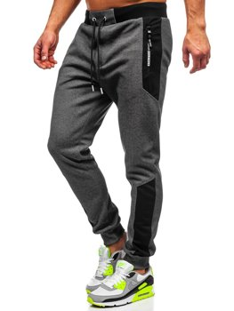 Grafitowo-białe dresowe spodnie męskie Denley Q1033