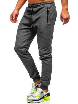 Grafitowo-białe dresowe spodnie męskie Denley Q1054
