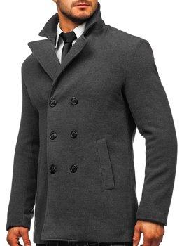 Grafitowy płaszcz dwurzędowy męski zimowy z wysokim kołnierzem Denley 8078