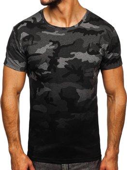 Grafitowy t-shirt męski z nadrukiem moro Denley S808