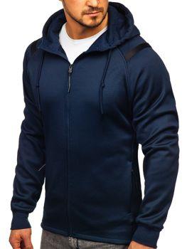Granatowa bluza męska z kapturem rozpinana Denley YD88003
