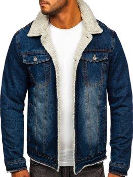 Granatowa jeansowa kurtka przejściowa męska Denley 1155