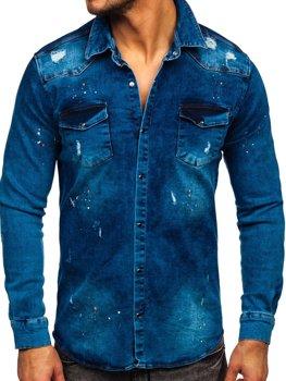 Granatowa koszula męska jeansowa z długim rękawem Denley R701