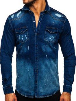 Granatowa koszula męska jeansowa z długim rękawem Denley R802