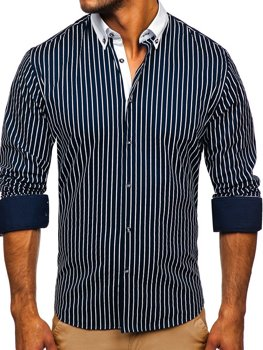 Granatowa koszula męska w paski z długim rękawem Bolf 20706