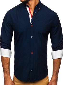 Granatowa koszula męska z długim rękawem Bolf 20710