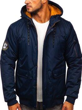Granatowa kurtka męska zimowa Denley HY821