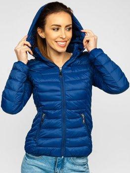 Granatowa pikowana kurtka damska przejściowa z kapturem Denley B0102