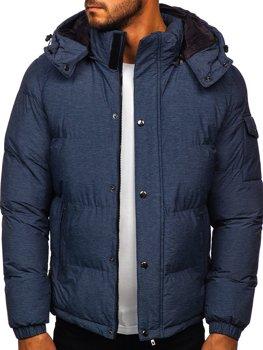 Granatowa pikowana kurtka męska zimowa Denley 1166