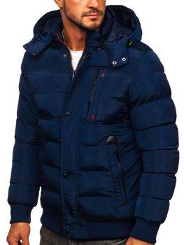 Granatowa pikowana kurtka męska zimowa z kapturem Denley 1185