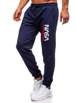 Granatowe dresowe spodnie męskie Denley 012