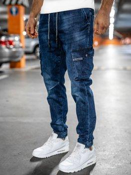 Granatowe jeansowe joggery bojówki spodnie męskie slim fit Denley 85030W0