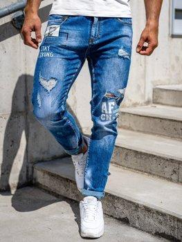 Granatowe jeansowe spodnie męskie slim fit Denley 85006S0