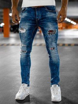 Granatowe jeansowe spodnie męskie slim fit z paskiem Denley 8027S0