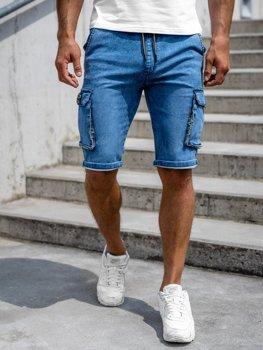 Granatowe krótkie spodenki jeansowe bojówki męskie Denley HY775