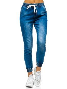 Granatowe spodnie jeansowe joggery damskie Denley SJ102