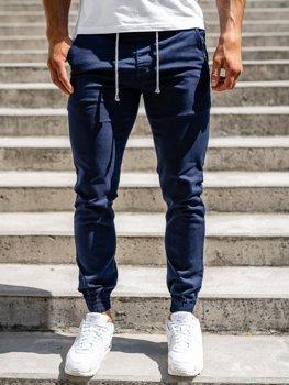 Granatowe spodnie joggery męskie Denley CT8808
